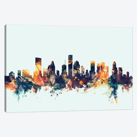 Houston, Texas, USA On Blue Canvas Print #MTO285} by Michael Tompsett Canvas Artwork