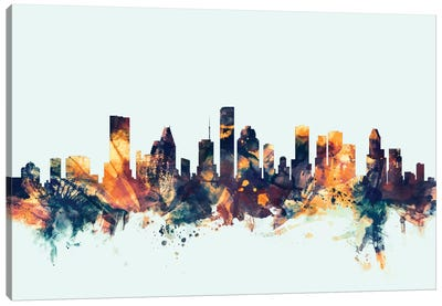 Houston, Texas, USA On Blue Canvas Art Print