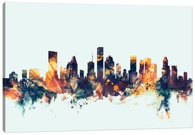 Houston, Texas, USA On Blue Canvas Art Print