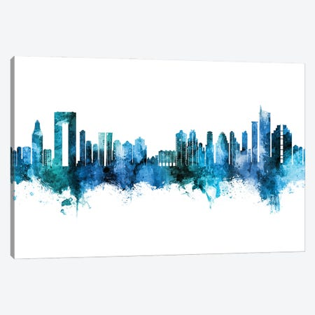 Benidorm Spain Skyline Blue Teal Canvas Print #MTO2860} by Michael Tompsett Canvas Artwork