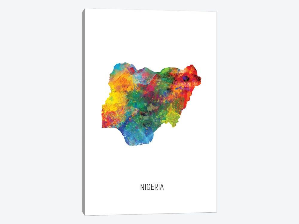 Nigeria Map by Michael Tompsett 1-piece Canvas Print