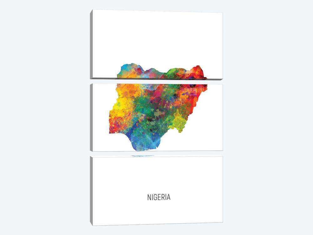 Nigeria Map by Michael Tompsett 3-piece Canvas Print