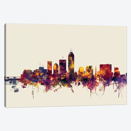 Indianapolis, Indiana, USA On Beige Canvas Print #MTO286} by Michael Tompsett Canvas Wall Art