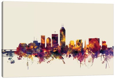 Skyline Series: Indianapolis, Indiana, USA On Beige Canvas Print #MTO286