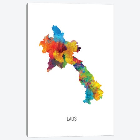 Laos Map Canvas Print #MTO2871} by Michael Tompsett Canvas Print