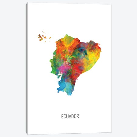 Ecuador Map Canvas Print #MTO2873} by Michael Tompsett Canvas Print