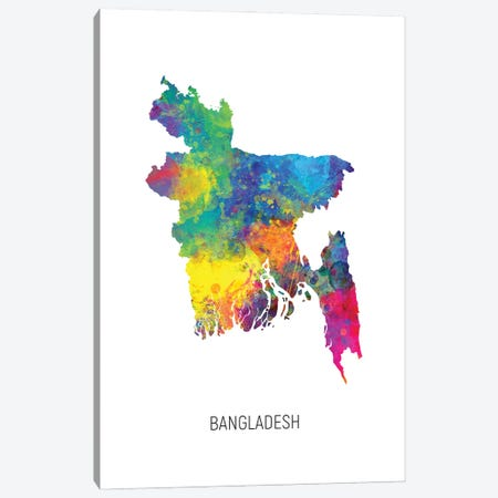 Bangladesh Map Canvas Print #MTO2875} by Michael Tompsett Canvas Art