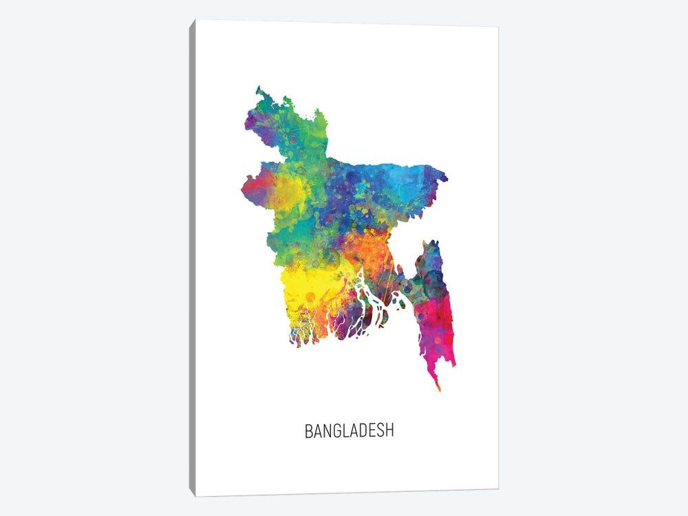 Bangladesh Map by Michael Tompsett 1-piece Canvas Artwork