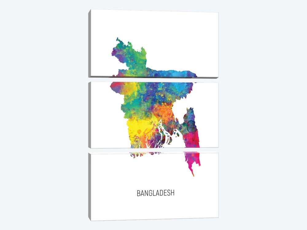 Bangladesh Map by Michael Tompsett 3-piece Canvas Wall Art
