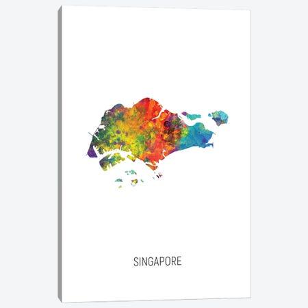 Singapore Map Canvas Print #MTO2876} by Michael Tompsett Canvas Art