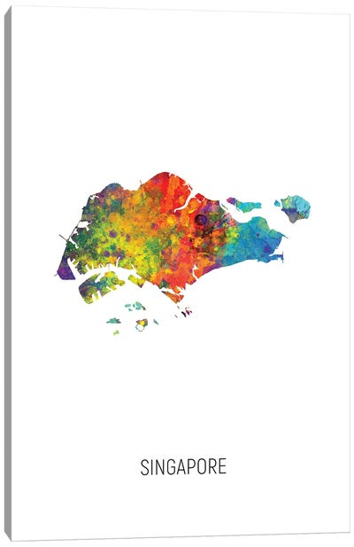 Singapore Map Canvas Art Print