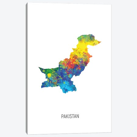 Pakistan Map Canvas Print #MTO2877} by Michael Tompsett Canvas Artwork
