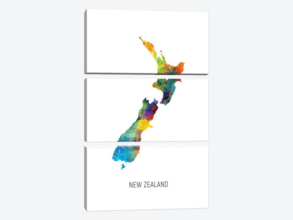 New Zealand Map by Michael Tompsett 3-piece Art Print