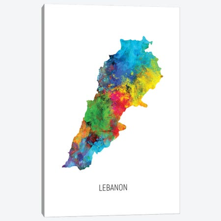Lebanon Map Canvas Print #MTO2879} by Michael Tompsett Canvas Art Print