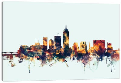 Skyline Series: Indianapolis, Indiana, USA On Blue Canvas Print #MTO287