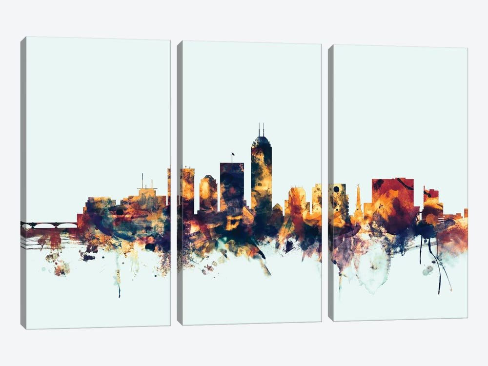 Indianapolis, Indiana, USA On Blue by Michael Tompsett 3-piece Canvas Print