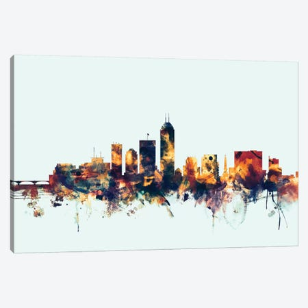 Indianapolis, Indiana, USA On Blue 3-Piece Canvas #MTO287} by Michael Tompsett Canvas Wall Art