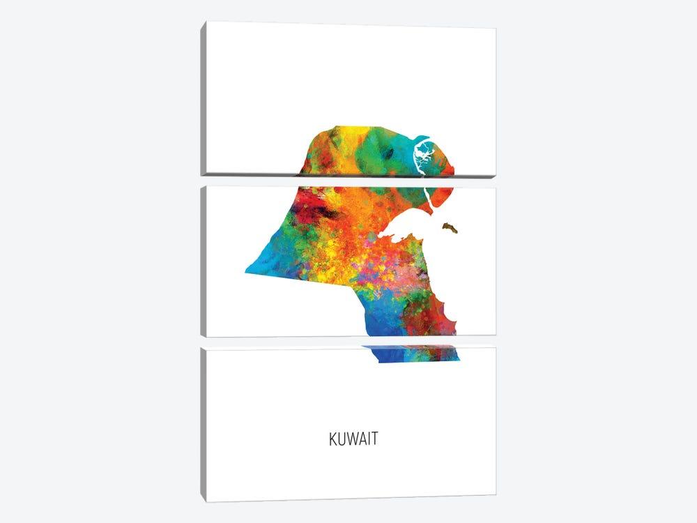 Kuwait Map by Michael Tompsett 3-piece Canvas Artwork