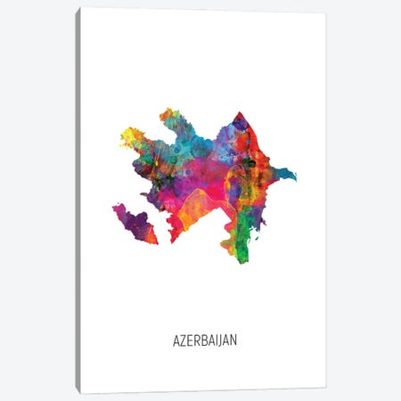 Azerbaijan Map Canvas Print #MTO2881} by Michael Tompsett Canvas Art