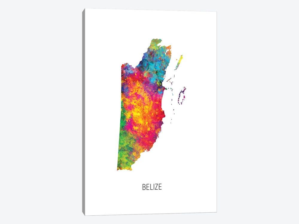 Belize Map by Michael Tompsett 1-piece Canvas Artwork