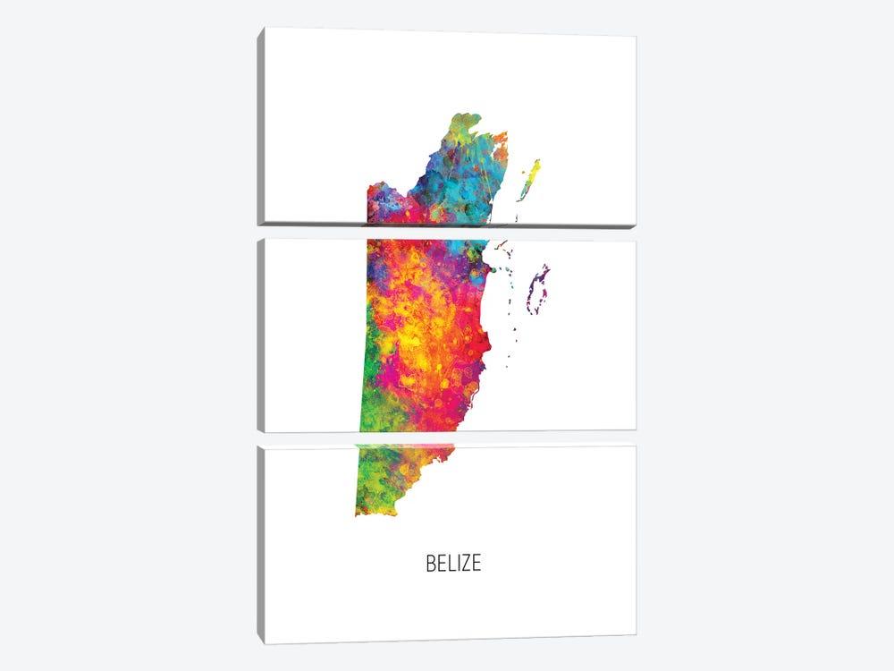 Belize Map by Michael Tompsett 3-piece Canvas Art