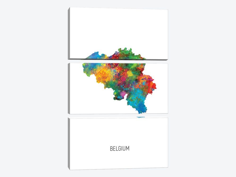 Belgium Map by Michael Tompsett 3-piece Canvas Print