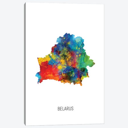 Belarus Map Canvas Print #MTO2888} by Michael Tompsett Canvas Art