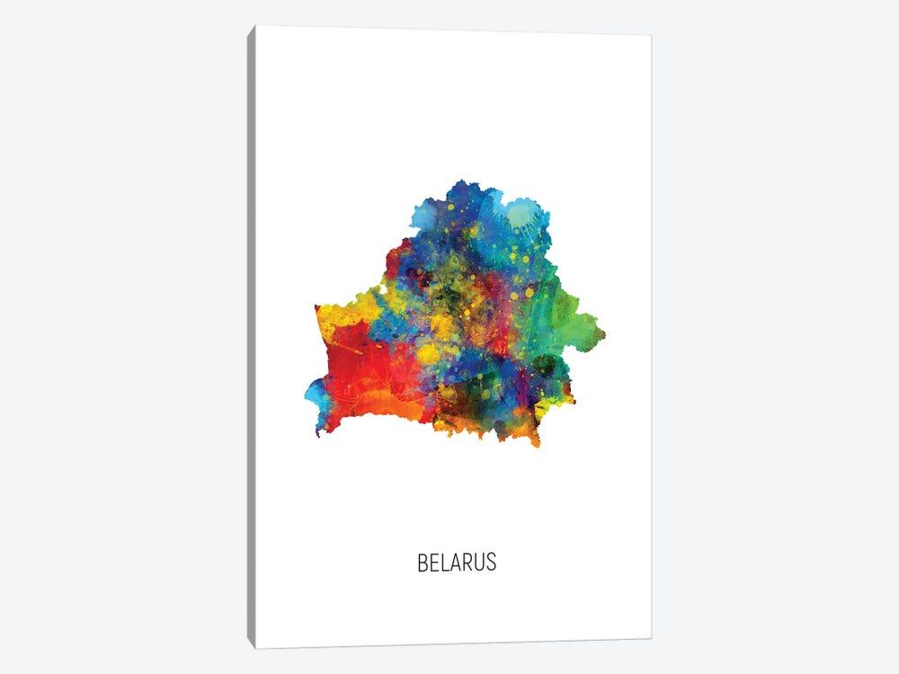 Belarus Map by Michael Tompsett 1-piece Canvas Artwork