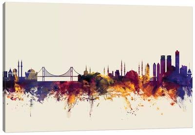 Skyline Series: Istanbul, Turkey On Beige Canvas Print #MTO288