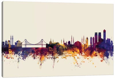 Istanbul, Turkey On Beige Canvas Art Print