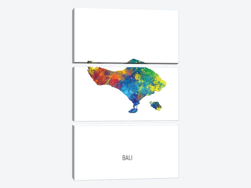 Bali Map by Michael Tompsett 3-piece Art Print
