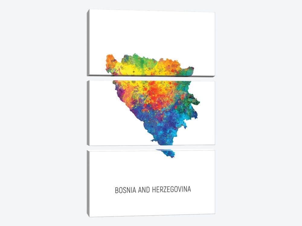 Bosnia and Herzegovina Map by Michael Tompsett 3-piece Canvas Artwork