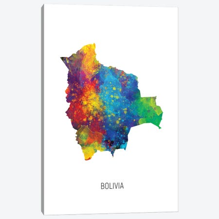 Bolivia Map Canvas Print #MTO2892} by Michael Tompsett Canvas Print