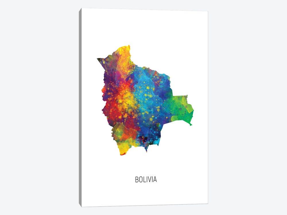 Bolivia Map by Michael Tompsett 1-piece Canvas Art Print