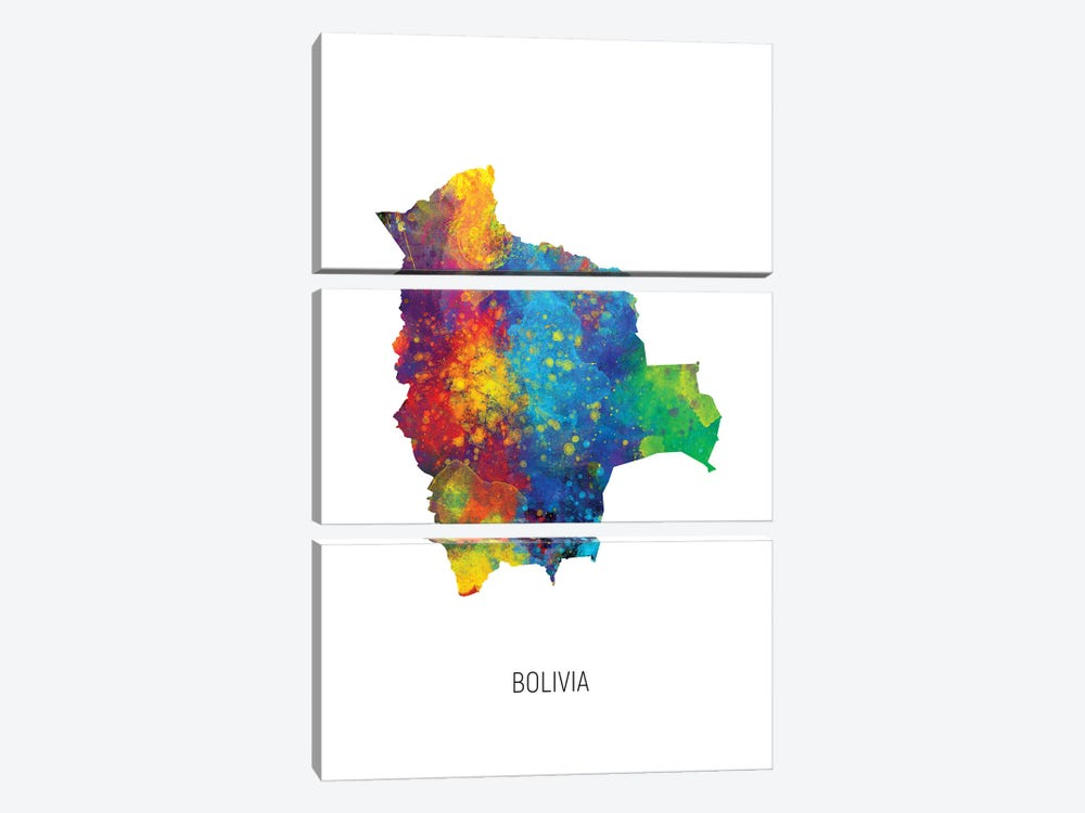 Bolivia Map by Michael Tompsett 3-piece Canvas Print