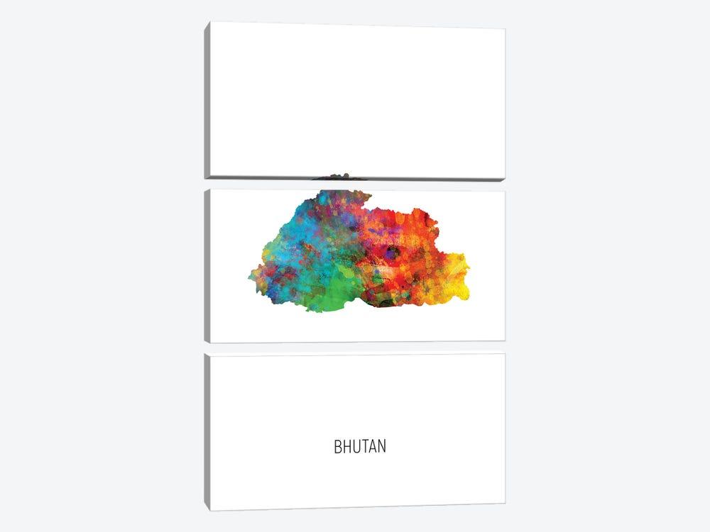 Bhutan Map by Michael Tompsett 3-piece Canvas Art