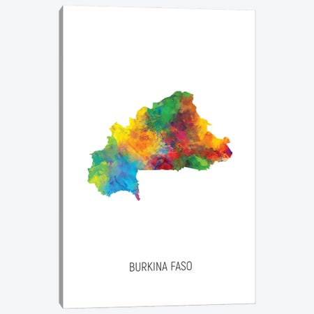 Burkina Faso Map Canvas Print #MTO2896} by Michael Tompsett Canvas Artwork