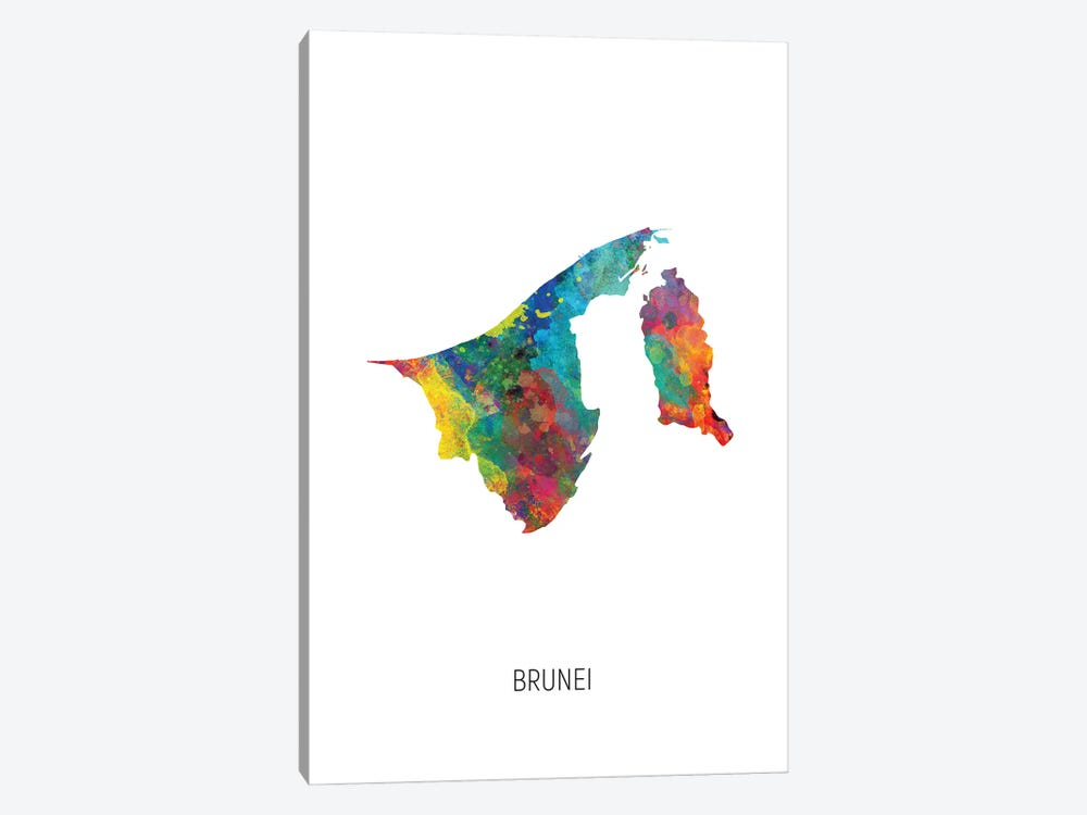 Brunei Map by Michael Tompsett 1-piece Canvas Artwork