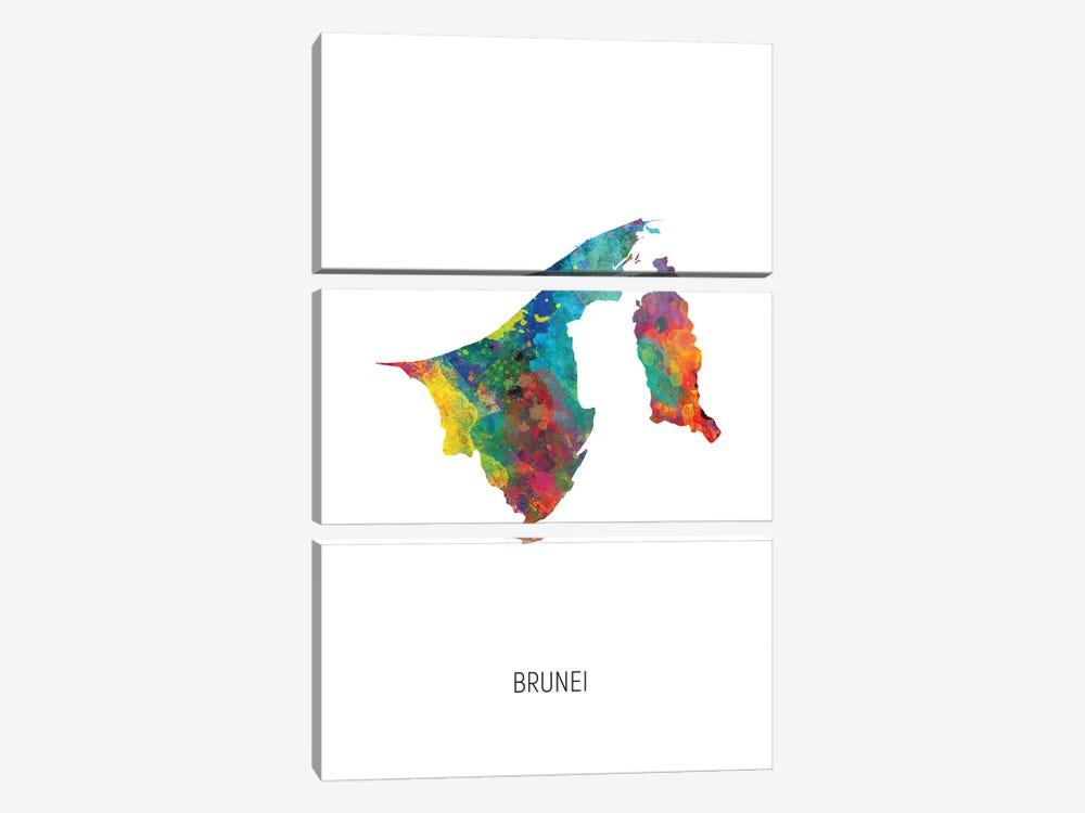Brunei Map by Michael Tompsett 3-piece Canvas Artwork