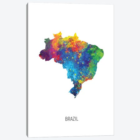 Brazil Map 3-Piece Canvas #MTO2899} by Michael Tompsett Canvas Print