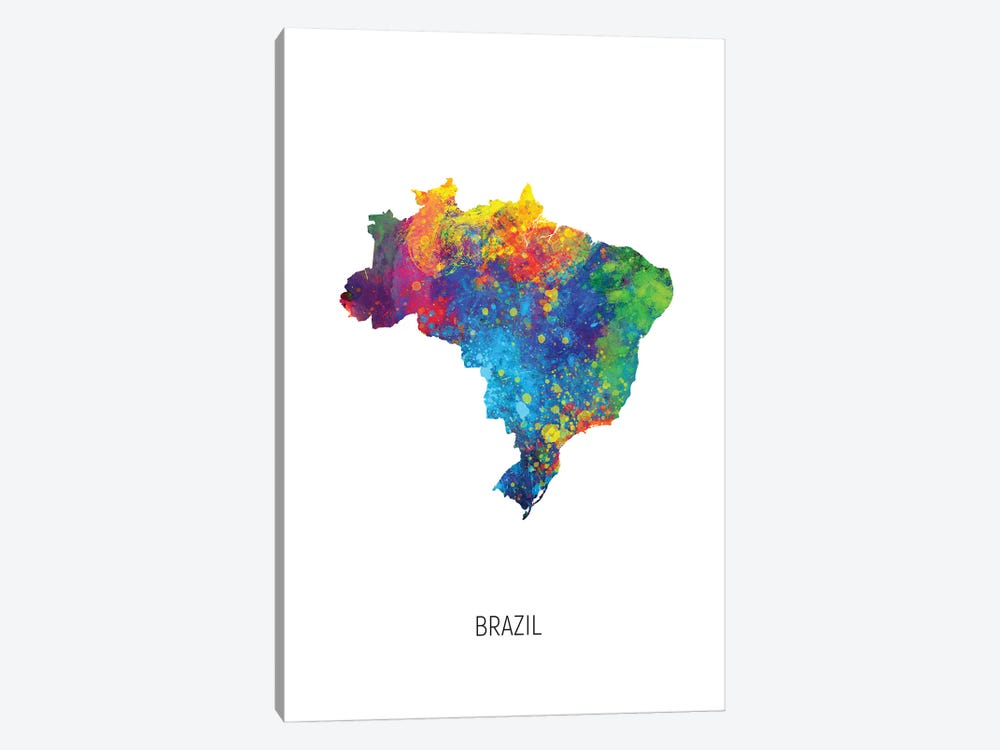 Brazil Map by Michael Tompsett 1-piece Canvas Artwork