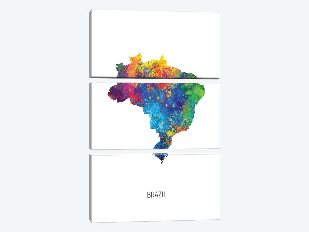 Brazil Map by Michael Tompsett 3-piece Canvas Art