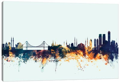 Skyline Series: Istanbul, Turkey On Blue Canvas Art Print