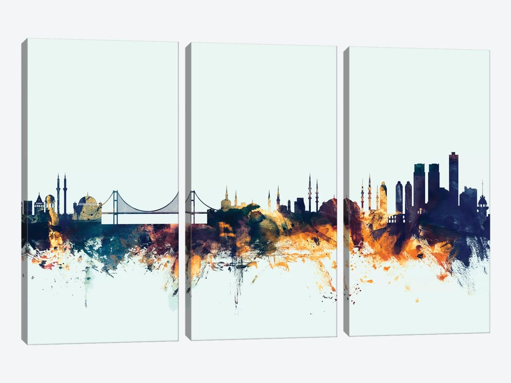 Skyline Series: Istanbul, Turkey On Blue by Michael Tompsett 3-piece Canvas Print