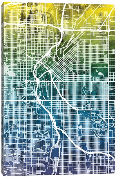 Color Gradient Urban Street Map Series: Denver, Colorado, USA Canvas Print #MTO28