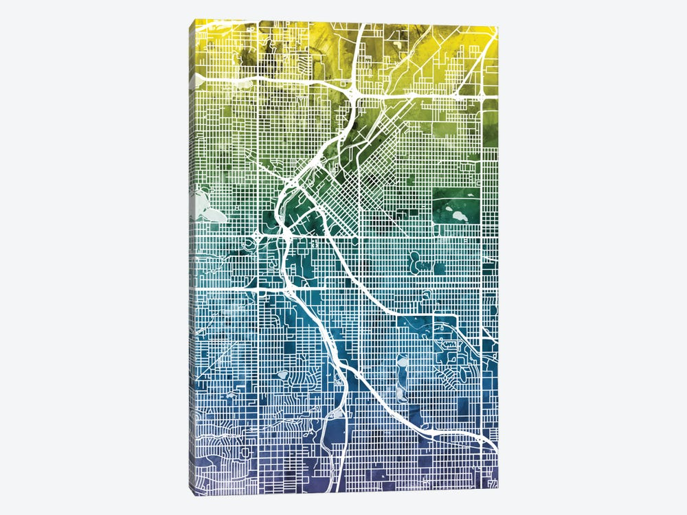 Color Gradient Urban Street Map Series: Denver, Colorado, USA by Michael Tompsett 1-piece Canvas Print