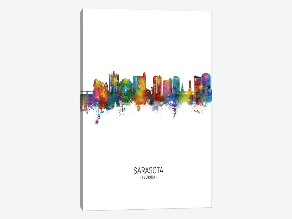 Sarasota Florida Skyline Portrait by Michael Tompsett 1-piece Canvas Art
