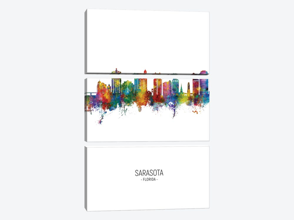 Sarasota Florida Skyline Portrait by Michael Tompsett 3-piece Canvas Wall Art