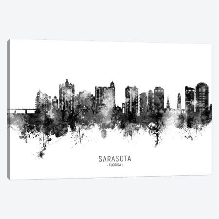 Sarasota Florida Skyline Name Bw Canvas Print #MTO2903} by Michael Tompsett Canvas Art Print