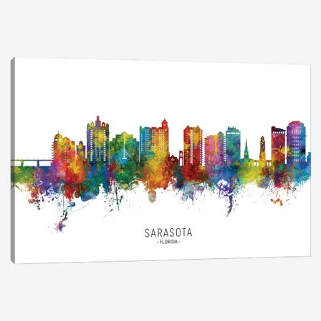 Sarasota Florida Skyline City Name Canvas Print #MTO2904} by Michael Tompsett Canvas Art